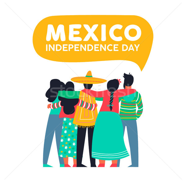 Stock photo: Mexico independence day card of mexican friends