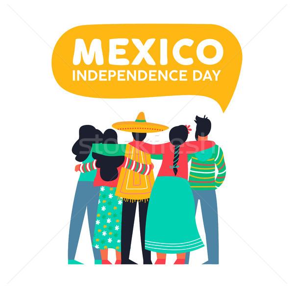 Stock fotó: Mexikó · nap · kártya · mexikói · barátok · boldog
