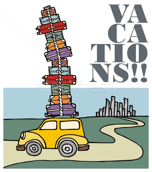Foto stock: Férias · carro · corrida · longe · cidade · ilustração