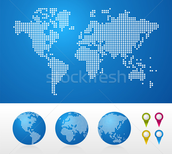 Dotted World maps and globes Stock photo © cienpies