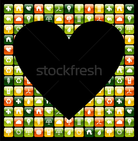 Global green mobile phone apps love Stock photo © cienpies