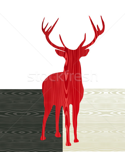Christmas wooden reindeer silhouette Stock photo © cienpies