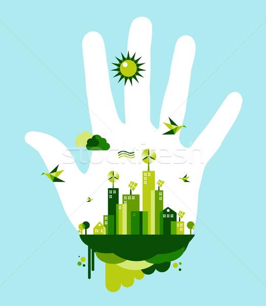 Vert ville main personnes ciel bleu environnement Photo stock © cienpies