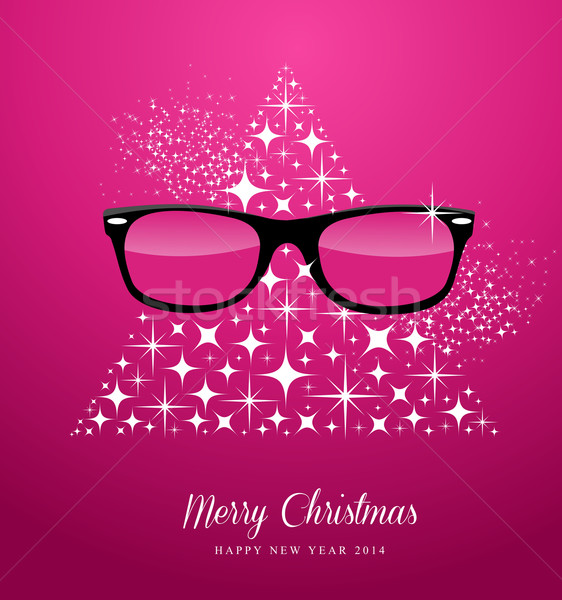 Hipster Merry Christmas and Happy New Year greeting card Stock photo © cienpies