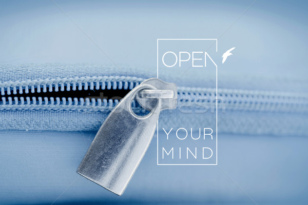 Open mind quote concept macro zipper background Stock photo © cienpies