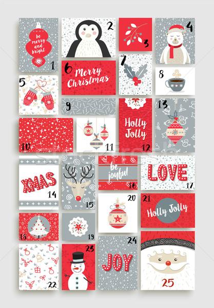 Cute heiter Weihnachten Aufkommen Kalender Urlaub Stock foto © cienpies