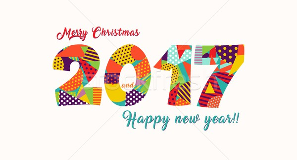 Merry Christmas New Year 2017 fun typography card Stock photo © cienpies
