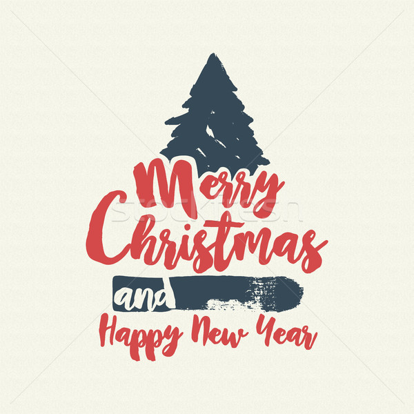 Christmas text quote calligraphy tree illustration Stock photo © cienpies