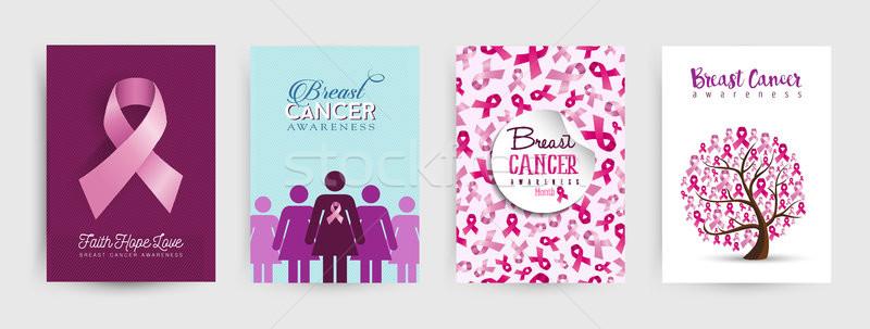 Borstkanker bewustzijn poster ingesteld maand Stockfoto © cienpies