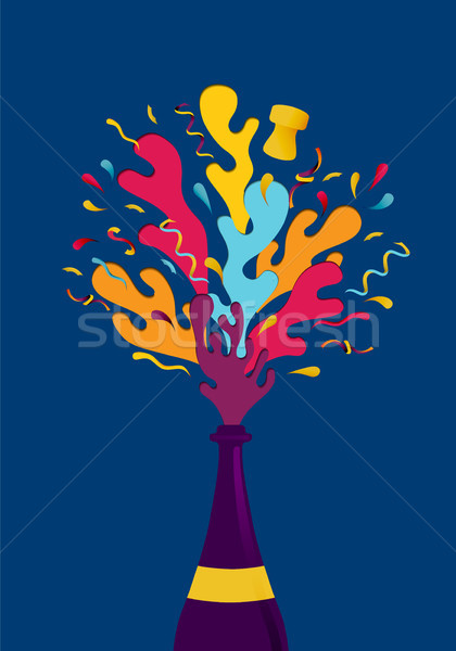 New Year colorful party champagne bottle splash Stock photo © cienpies