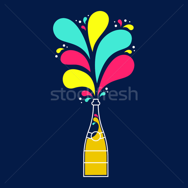 Colorful champagne party bottle splash design Stock photo © cienpies