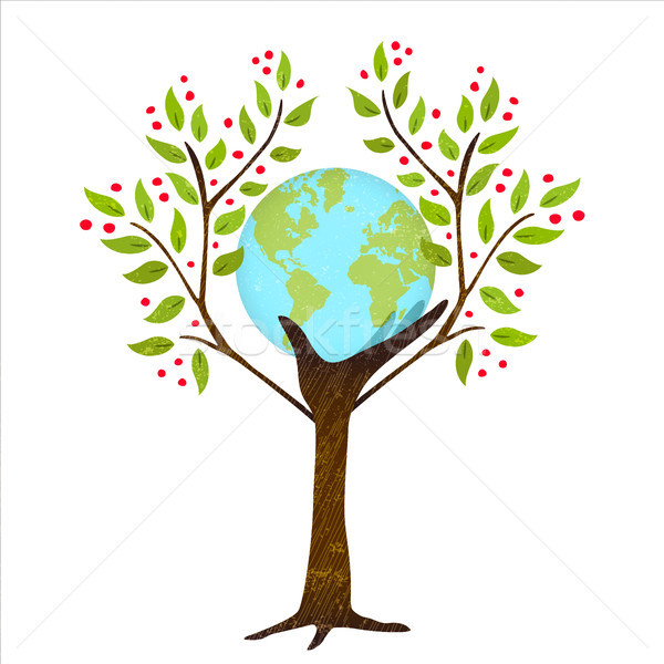 Green tree hand with earth for nature concept Stock photo © cienpies