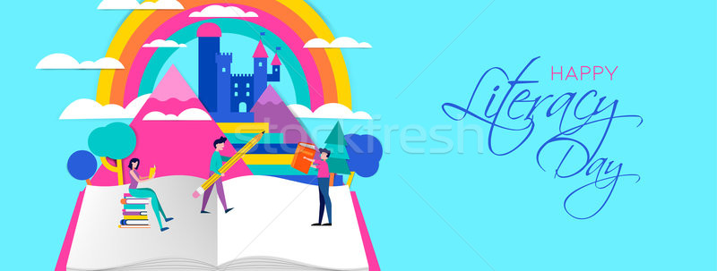 Literacy Day web banner of people reading books Stock photo © cienpies