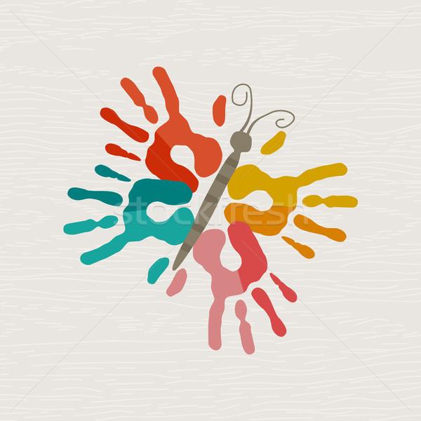 Mano humana impresión mariposa forma arte color Foto stock © cienpies