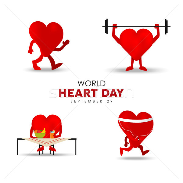 World Heart Day card for exercise and nutrition Stock photo © cienpies