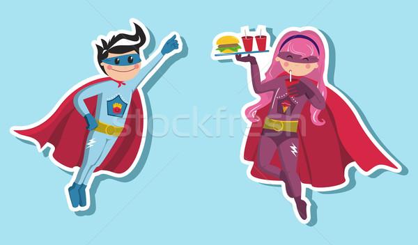 Superhero мальчики иллюстрация девушки мальчика Сток-фото © cienpies