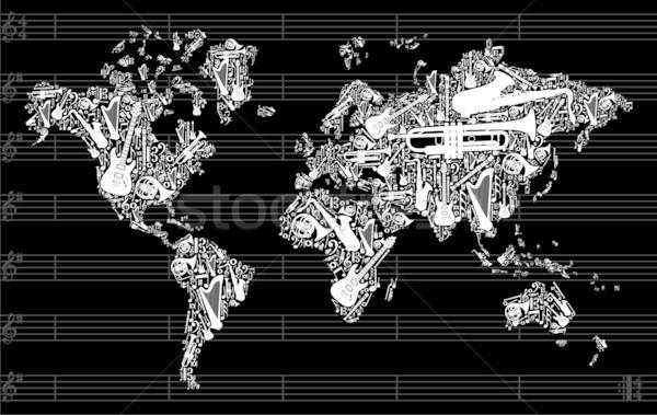 Musica mappa del mondo mondo silhouette strumenti musicali Foto d'archivio © cienpies