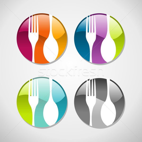 Gourmet glossy web button icons set Stock photo © cienpies