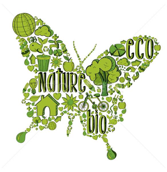 Grünen Schmetterling Umwelt Symbole Hand gezeichnet Illustration Stock foto © cienpies
