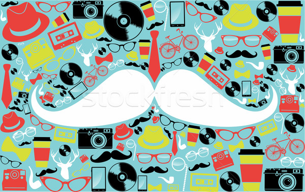 Retro hipsters icons shape. Stock photo © cienpies