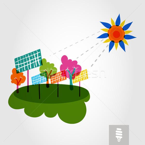 Groene stad zon bomen zonnepanelen kleurrijk Stockfoto © cienpies