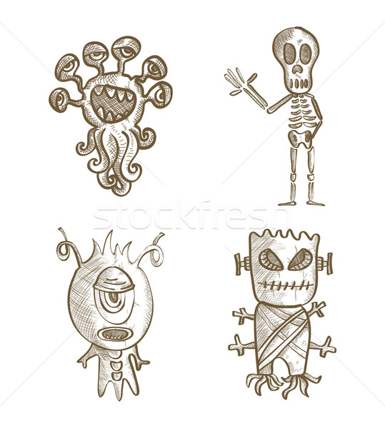 Halloween monsters geïsoleerd schets stijl Stockfoto © cienpies