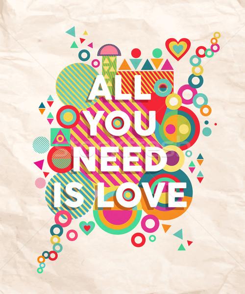 необходимость любви цитировать плакат красочный Сток-фото © cienpies