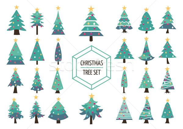 Christmas pine tree set icon holiday decoration Stock photo © cienpies