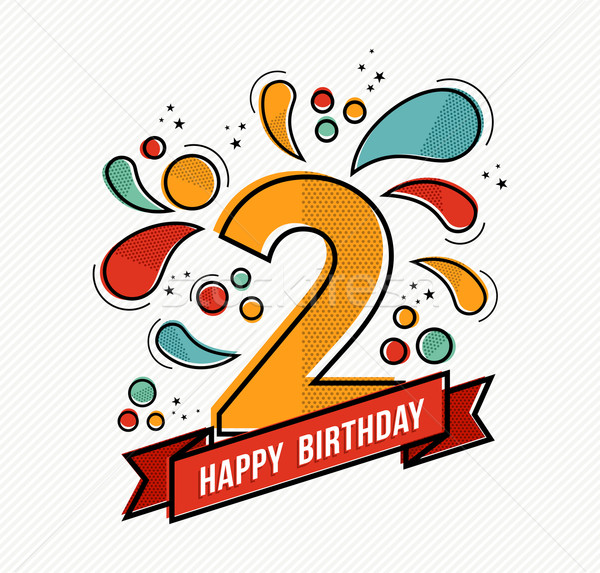 Colorful happy birthday number 2 flat line design Stock photo © cienpies