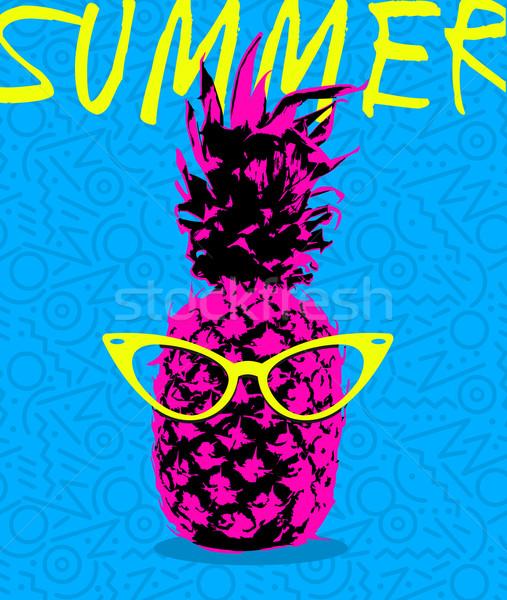 лет дизайна ананаса очки ретро Сток-фото © cienpies