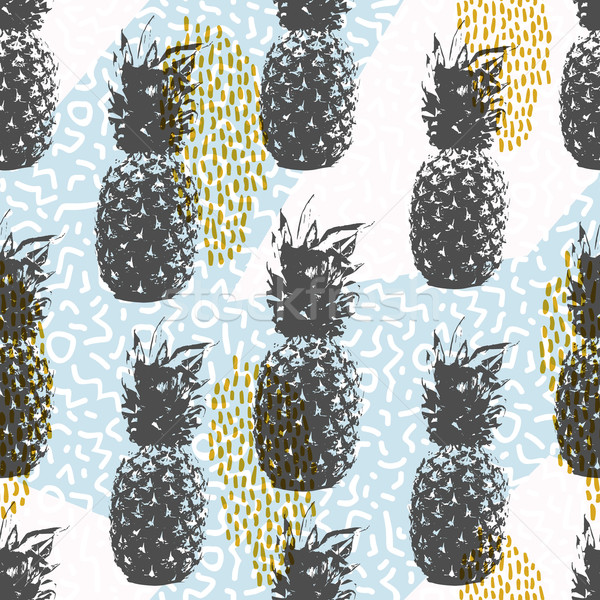 Retro 80s summer seamless pattern with pineapple Stock photo © cienpies
