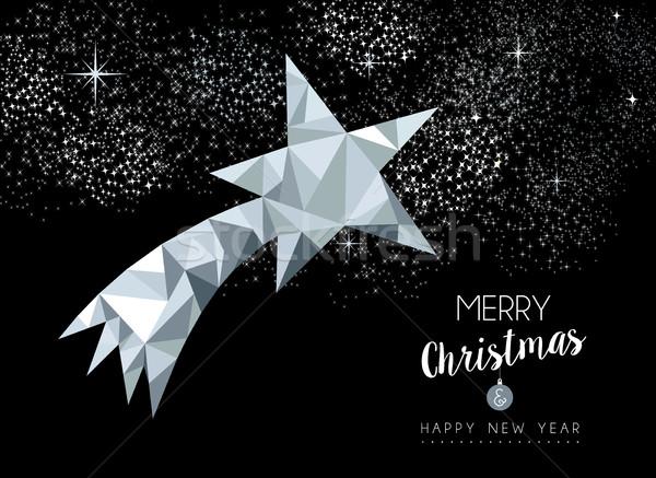 Allegro Natale biglietto d'auguri argento star buon anno Foto d'archivio © cienpies