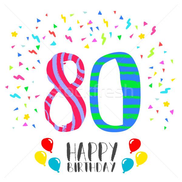 Joyeux anniversaire 80 année carte nombre Photo stock © cienpies
