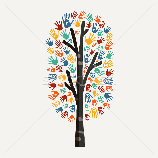 Hand tree concept illustration for charity help Stock photo © cienpies