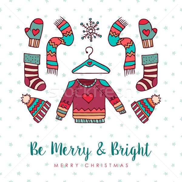 Christmas winter fashion holiday cartoon card Stock photo © cienpies