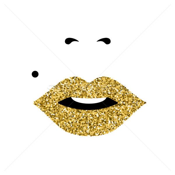 Lány arc arany rúzs nőnap csillámlás Stock fotó © cienpies