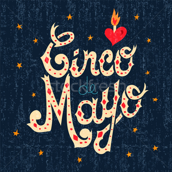 Cinco de mayo mexican text sign greeting card Stock photo © cienpies