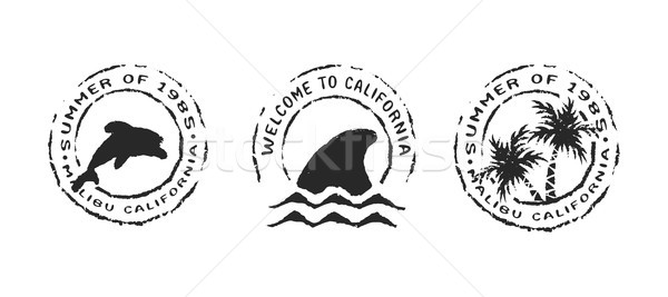 Retro Californië strand label stempel ingesteld Stockfoto © cienpies