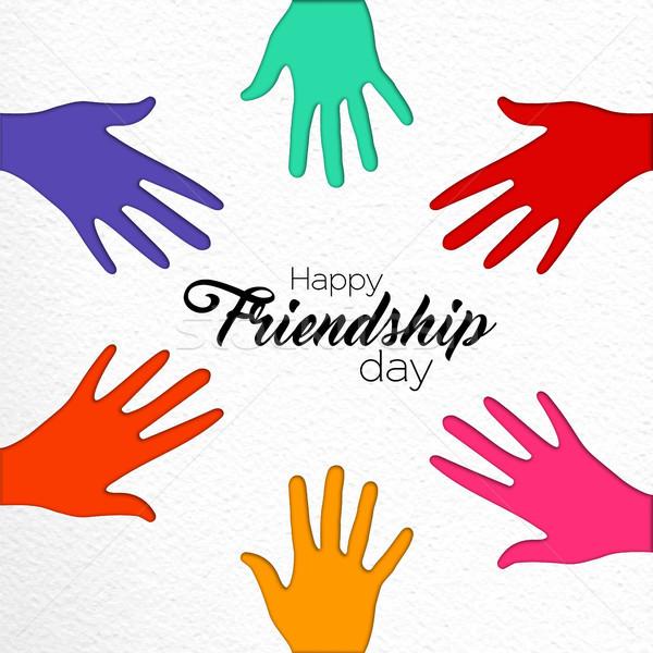 Amizade dia papel cortar amigo mãos Foto stock © cienpies