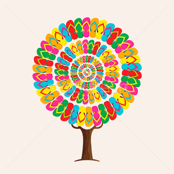 Summer flip flop tree concept for beach holiday Stock photo © cienpies