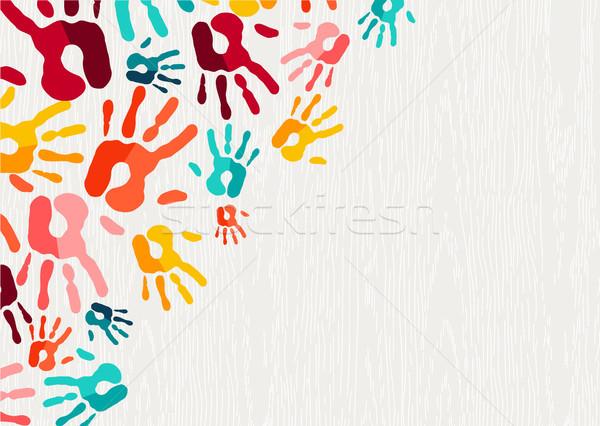 Emberi kéz nyomtatott szín művészet illusztráció gyerek Stock fotó © cienpies