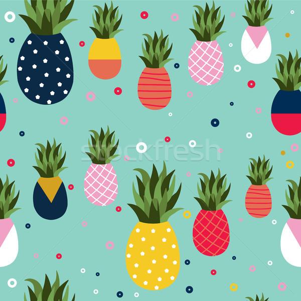 パイナップル フルーツ レトロなパターン 芸術 実例 ストックフォト © cienpies