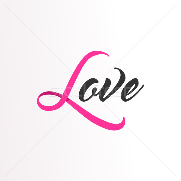 Love Pink ribbon text for Breast Cancer Awareness Stock photo © cienpies
