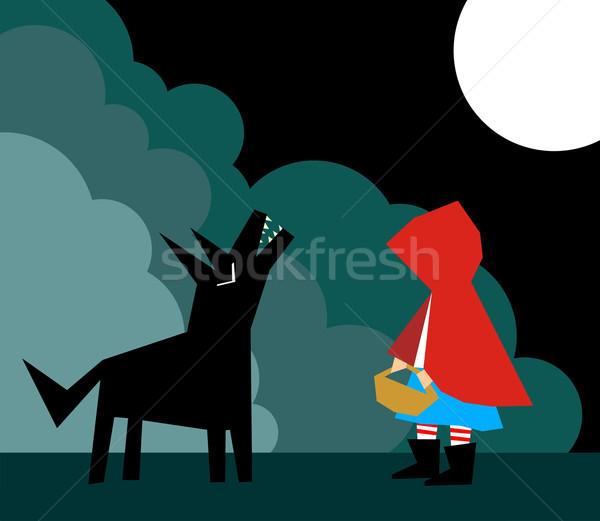 Kicsi piros lovaglás farkas erdő hold Stock fotó © cienpies