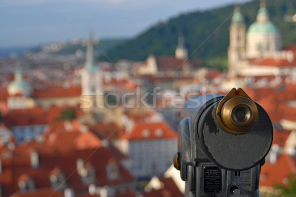 Old telescope and cityscape Stock photo © cienpies