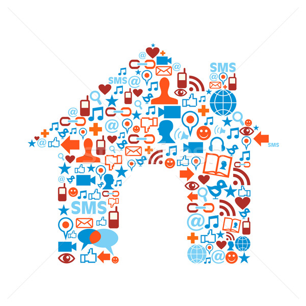 House symbol with media icons texture Stock photo © cienpies