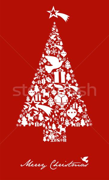 Photo stock: Noël · arbre · forme · star · carte · postale