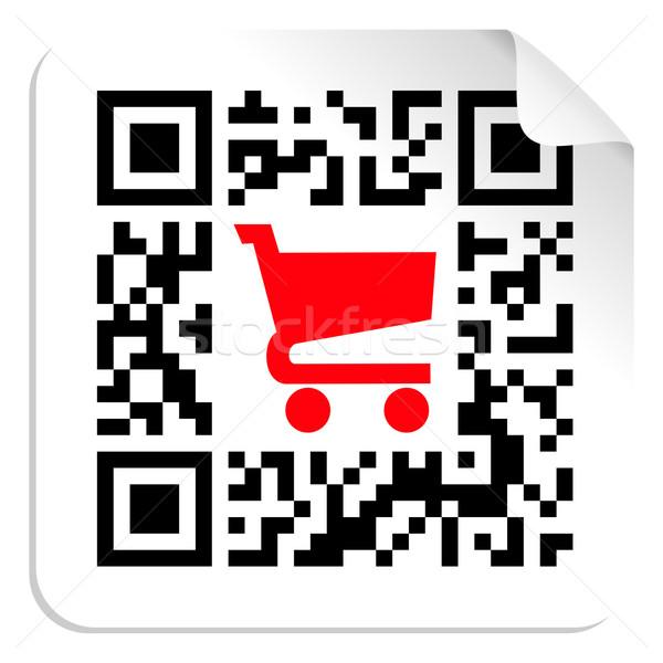 Kopen label teken qr code Rood winkelwagen Stockfoto © cienpies