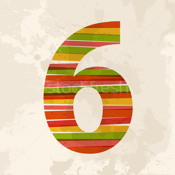 Vintage multicolor number six Stock photo © cienpies