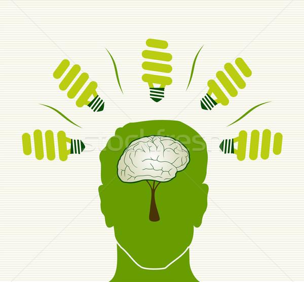 Photo stock: Vert · vie · tête · illustration · respectueux · de · l'environnement · lumière